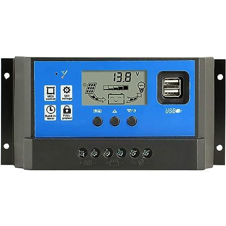 Y&H 60A Controlador de Carga Solar Panel Solar 12V/24V Inteligente Controlador de Carga con 5V Control de temporizador Pantalla LCD yDoble Puerto USB,para Panel Solar Lámpara Batería y Iluminación LED