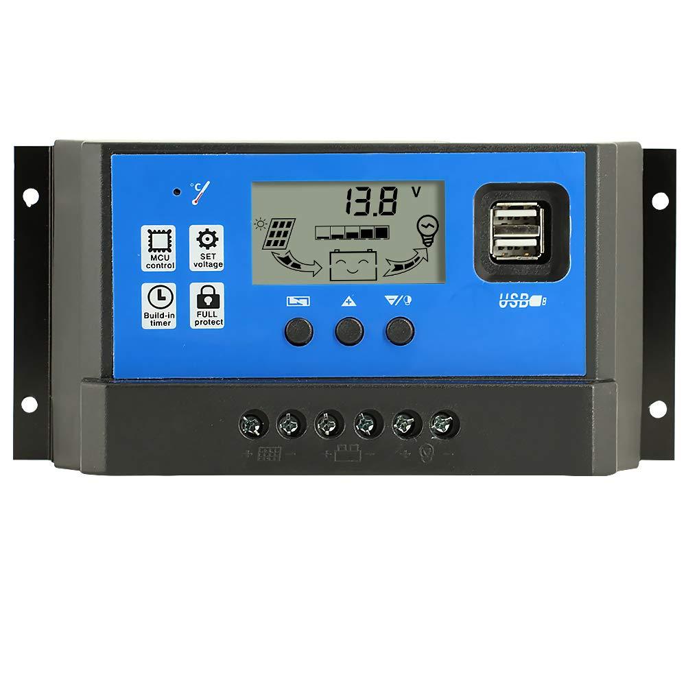Y&H 40A Controlador de Carga Solar Panel Solar 12V/24V Inteligente Controlador de Carga con 5V Control de temporizador Pantalla LCD yDoble Puerto USB,para Panel Solar Lámpara Batería y Iluminación