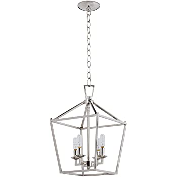 Motini 4 Light Silver Lantern Pendant Light In Polished Nickel Finish Cage Chandelier With Adjustable Chain Metal Geometric Fixture Hanging Pendant Lighting For Kitchen Island Dining Room Foyer Amazon Com