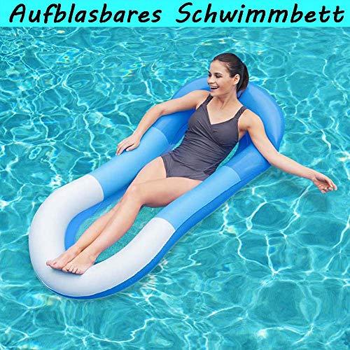 Wuudi Aufblasbares Schwimmbett, Pool Hängematte mit Mesh, Aufblasbare hängematte Pool, aufblasbare hängematte für Erwachsene und Kinder (Blau)