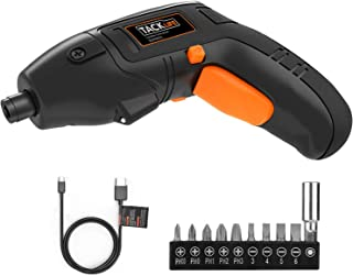 TACKLIFE Electric Screwdriver, 4V Max Cordless Screwdriver Rechargeable with Micro USB, Front LED Light, 10 PCS Screw Bits - SDP60DC