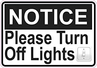 StickerTalk Please Turn Off Lights Vinyl Sticker, 5 inches by 3.5 inches