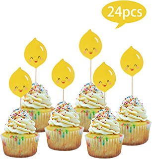 24pcs lemon Cupcake Toppers for Birthday Party Cake Decoration Supplies