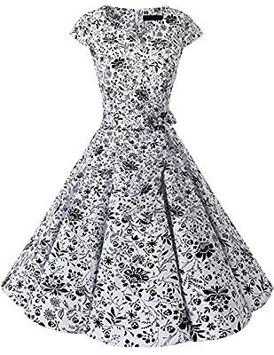 Vintage Swing Dresses for Women Floral Print White Skull S