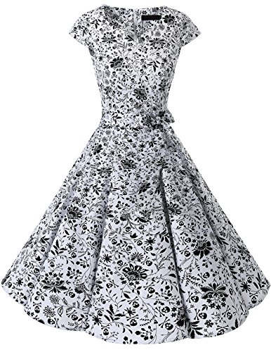 Dresstells Damen Vintage 50er Cap Sleeves Rockabilly Swing Kleider Retro Hepburn Stil Cocktailkleid White Skull L