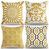 Allmarkhomes Funda Cojin Amarillo Mostaza 45x45 Cojines Funda Almohada Abstracta Cojines Decorativos Cuadrada Geométricas para el Sofá del Dormitorio del Hogar