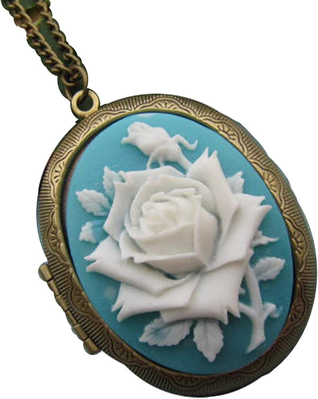 Rose Price reduction In stock Cameo Locket Necklace Jewelry Bron Antique Love