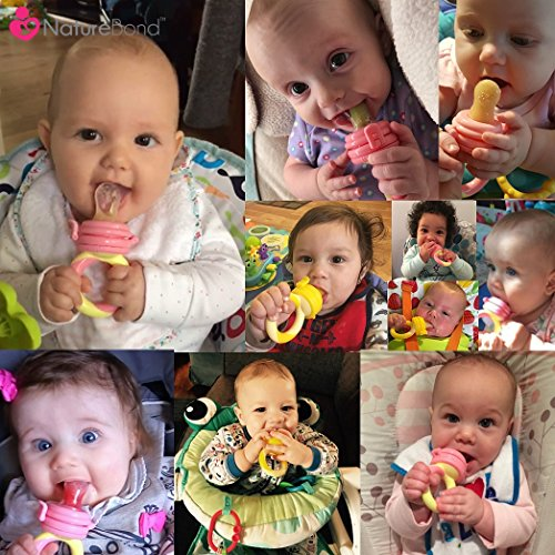 NatureBond Baby Fruit Feeder Babynahrung Nahrungsmittelzufuhr / Fruchtsauger Schnuller (2 Stück) – Baby Beißring in appetitanregenden Farben   Inklusive Bonus Silikon-Nippel (alle Größen) - 2