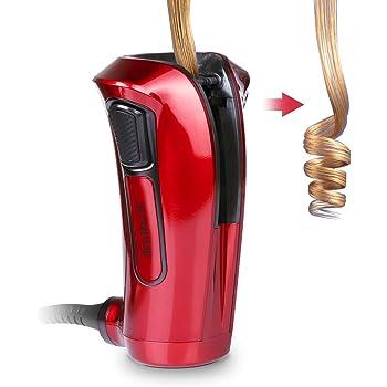 iGutech Rizador de pelo automático con cerámica Turmalina, calentador y monitor LED (Rojo): Amazon.es: Belleza