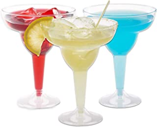 Plastic Margarita Glasses | 11.5 oz. – 50 Pack | Hard Clear Plastic Cocktail Cups | Disposable Party Cups | Large Margarita Glasses | Plastic Cocktail Coupe | Frozen Drink Cups
