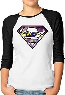 LQYG Women's Three Quarter Sleeve Tshirt - Superravens Black