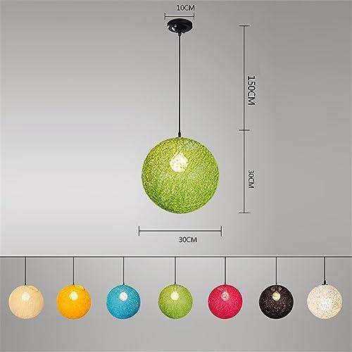 NOHOPE Tête simple chromatique chanvre boule rougein petit lustre Cafe Bar lumière luminaire maison Decor rétro lustre,30cm