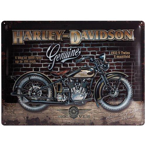 Nostalgic-Art Harley-Davidson – Brick Wall – Geschenk-Idee für Motorrad-Fans, Retro Blechschild, aus Metall, Vintage-Design zur Dekoration, 30 x 40 cm