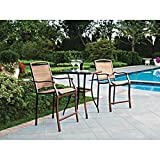 3 PC HIGH TOP BISTRO TABLE CHAIRS SET ~ SLINGBACK MATERIAL COMFORTABLE