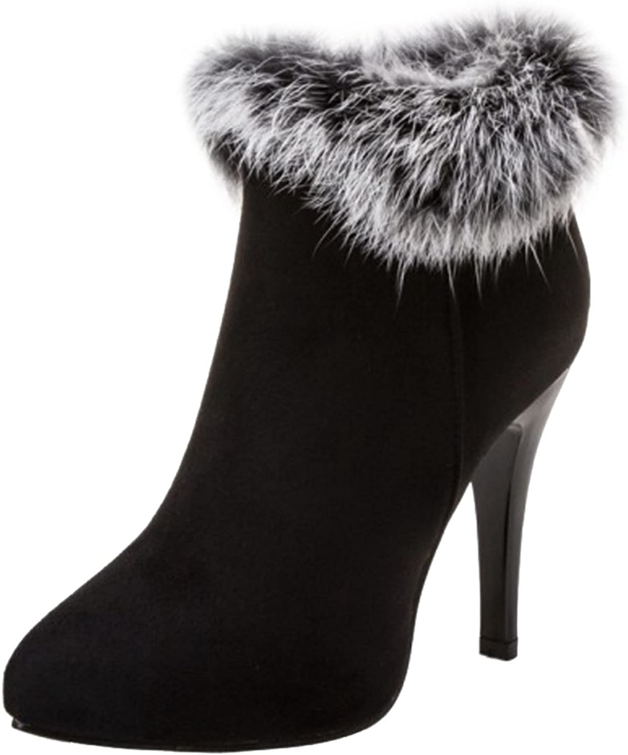 Smilice Fashion Anjke Boots with Kitten Heel and Sexy Fur Fashion Boots for All Parties Black