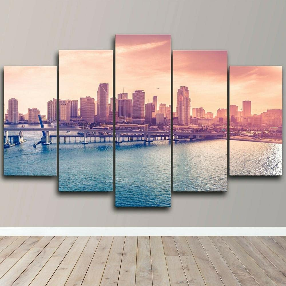 Max 53% OFF Pictures Art Ranking TOP14 Home Walls Canvas 5 City Modern Piece Florida Miami