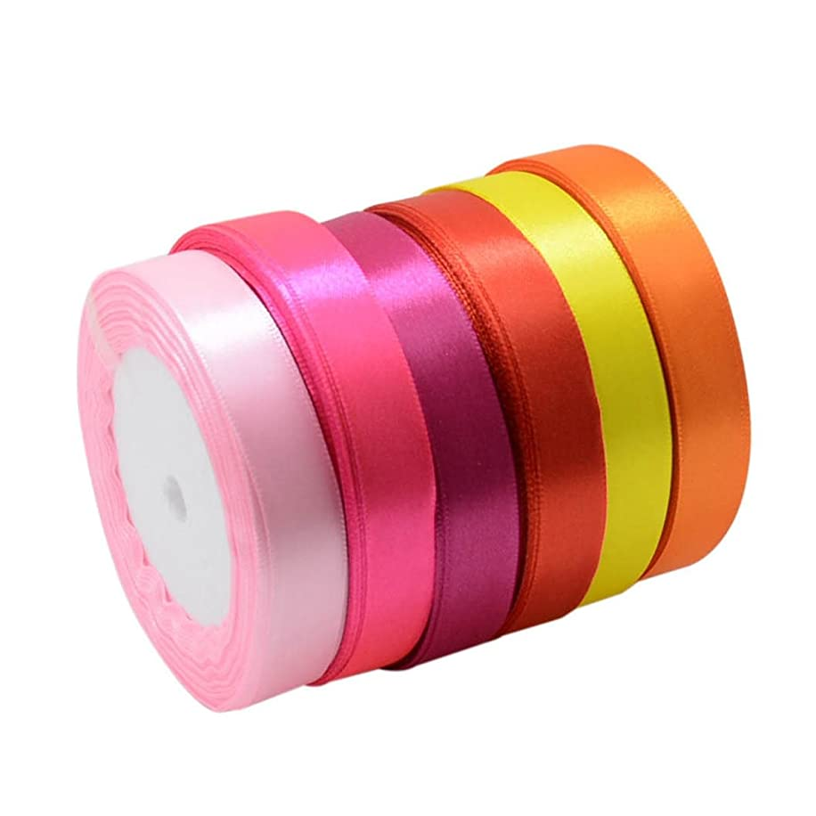 6 Solid Colors 150 Yards Satin Ribbon Rolls in 5/8 inch Wide, 25 Yards/Roll,6 Rolls for Bows Crafts Gifts Party Wedding, Each Color One Roll (Mix Color-3)