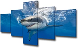 TUMOVO 5 Piece Great White Shark Paintings Wall Art Canvas Prints Black and White Large Animal Wall Poster Artwork Pictures for Home Office Wall Decorations Framed Ready to Hang - 50