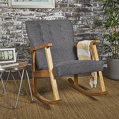 Hank Mid Century Modern Grey Fabric Rocking Chair