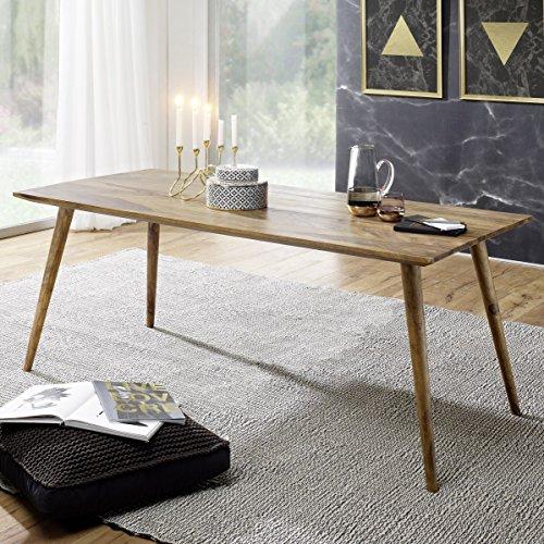 FineBuy Esszimmertisch 180 x 80 x 76 cm Sheesham rustikal Massiv-Holz | Design Landhaus Esstisch | Tisch für Esszimmer groß | 6-8 Personen