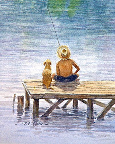 Boy Fishing with His Dog Friend, Art Print of Watercolor Painting - Lake, Nature, Boy in the Lake, Gift for Boys