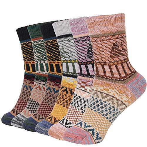 Bearbro Calcetines de Lana,6 Pares Calcetines Mujer Calcetines de Lana Cálidos de Confort Casual de Mujer de Invierno Vintage Calcetines de Lana
