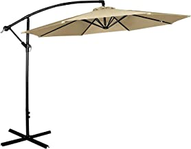 Cloud Mounatin 10 Ft Offset Patio Umbrella Outdoor Umbrella Aluminum 8 Ribs 100% Polyester with Cross Base Cantilever Hanging Market Umbrella, Tan