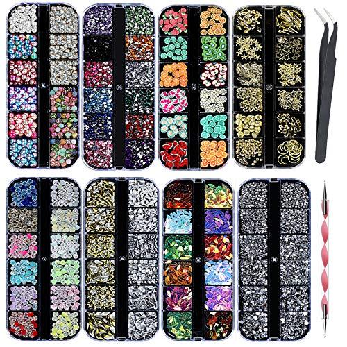 8 Scatole Kit di Strass per Unghie Nail Art Strass - Multicolore Fette di Frutta Cristalli Perle Gemme Gioielli Misti Colorati Borchie per Unghie Brillantini Gioielli Pailettes Cristalli Perle