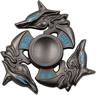 Mtele Fidget Spinner Metal Hand Spinner EDC ADHD Focus Toy Ultra Durable High Speed Anxiety Relief Toy,Black Fox