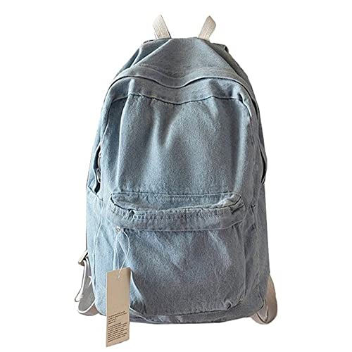 College School Denim Backpack Student Laptop Backpack for School for Teenage 965afeb47ceea