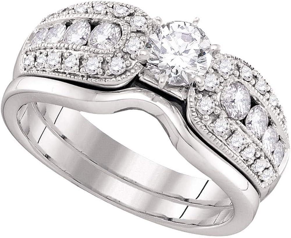 14kt White Gold Round Diamond Bridal Band Wedding Oakland Mall Ring Ctt Set 1 quality assurance