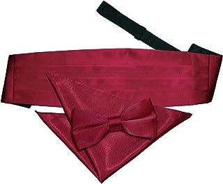 DQT Men Plain Satin Wedding Bow Tie Pocket Square & Cummerbund