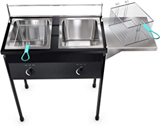 Bioexcel taco cart Outdoor Two Tank Fryer compatible with Propane Gas Tanks, comes with 2 Baskets & Stainless Steel Oil Tank