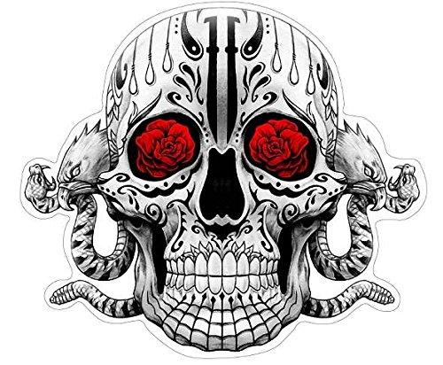 Sugar Skull Aufkleber black 'n' grey/red Sticker Schädel Adler Schlange Rosen