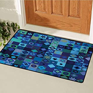 GUUVOR Indigo Inlet Outdoor Door mat Play Cards Inspired Hearts Circles Squares Flower Modern Image Catch dust Snow and mud W19.7 x L31.5 Inch Blue Fren Green Black and Purple