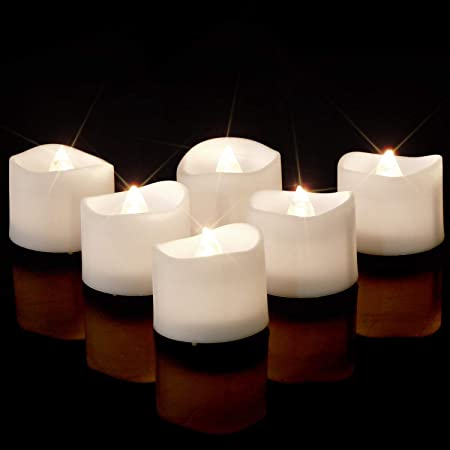 1//24pc Flickering LED Tealights with Timer Candles Flameless Light Party Decor h