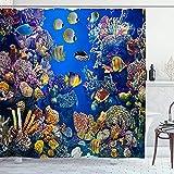 Alvaradod Cortina de la Ducha,Acuario Colorido con Diferentes Peces Nadando,con 12 Ganchos de plástico Cortinas de baño Decorativas 72x72 Pulgadas