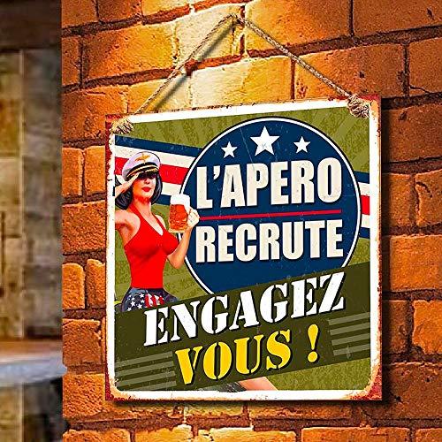 Rétro Plaque Deco Metal 20x20 Cm L'Apero recrute Engagez Vous