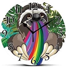 BCWAYGOD Silent Wall Clock,Sloth,Indolent Jungle Animal Spitting Rainbow Colors on Banana Leaves Backdrop Happy Mood Decorative Non Ticking Wall Clock/Desk Clock for Office Home Decor 9.5 inch