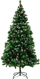 comprar comparacion Casaria Deuba Árbol de Navidad con piñas y Nieve Artificial Ramas con Efecto Nieve de 180 cm con 705 Puntas con Base decor...