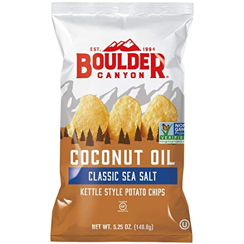 Boulder Canyon Coconut Oil Kettle Cooked Potato Chips, Sea Salt, Gluten Free, Crunchy Chips Cooked in 100% Coconut Oil, Perfect for Dipping, Great for Lunches or Snacks, 5.25 Ounce, Pack of 12
