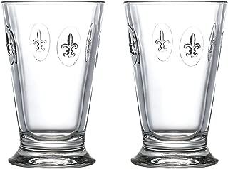 La Rochere Stemless glass Set of 2 – Fleur de Lys 10 oz clear glass tumbler – Ideal for Lemonade, Ice Tea, Juice, Water, Pimms – Great birthday housewarming gift – Durable elegant everyday glassware