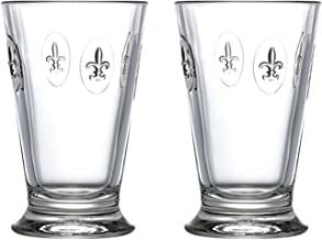 La Rochere Stemless glass Set of 2 – Fleur de Lys 10 oz clear glass tumbler – Ideal for Lemonade, Ice Tea, Juice, Water, Pimms – Great birthday housewarming gift – Durable elegant everyday glassware