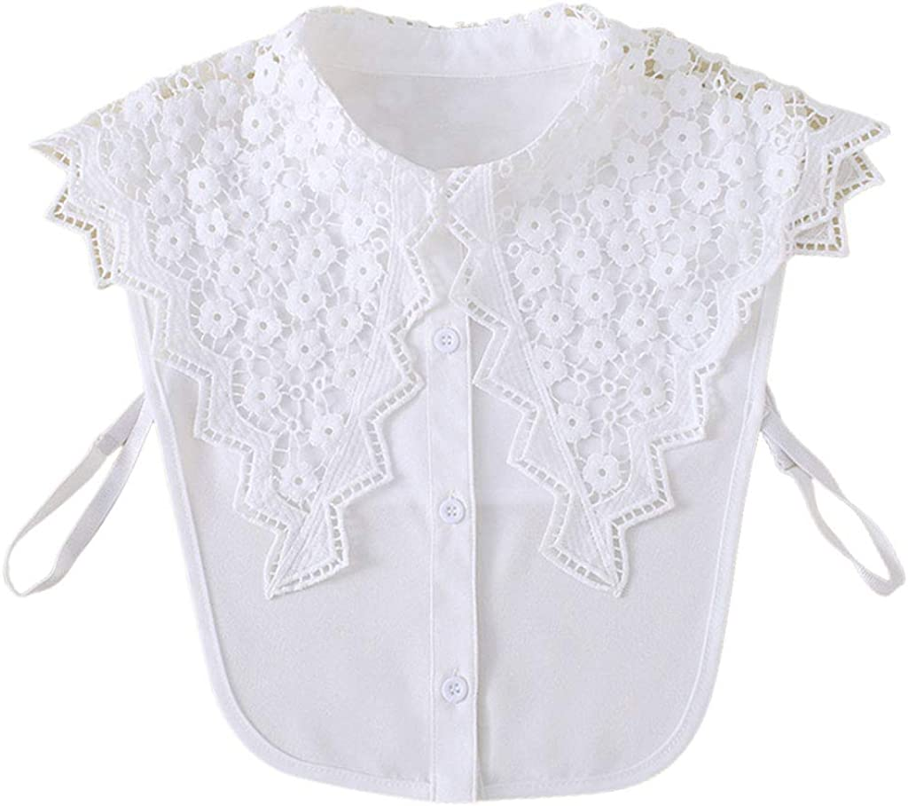 YOUSIKE Detachable Blouse, Women Girls Hollow Out Floral Lace Wavy Edge Fake Collar Winter Sweater Detachable Lapel Half-Shirt Blouse Decorative Button Down Clothing Accessories