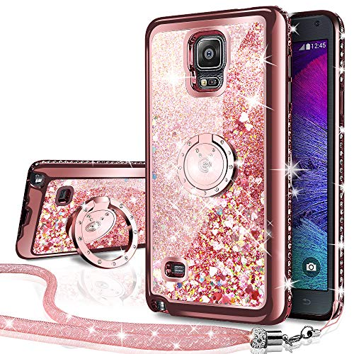 Silverback Galaxy Note 4 Case, Moving Liquid Holographic Sparkle Glitter Case with Kickstand, Bling Diamond Rhinestone Bumper W/Ring Slim Samsung Galaxy Note 4 Case for Girls Women -Rose Gold