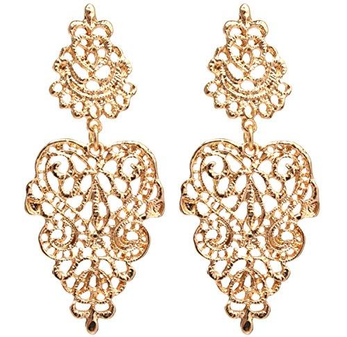 2LIVEfor Traumhafte Ohrringe Ethno Gross verziert Ohrringe Bohemian Vintage Ohrringe lang Hängend Antik Style Ornamente Barock Tropfen (silber) (Gold)