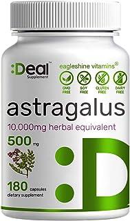 Ealgeshine Vitamins Astragalus 500mg, 180 Capsules -10,000mg Herbal Equivalent - Long Term Immune Support   Promotes Cardi...