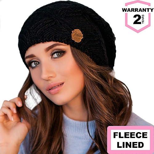 c8666b0e98c Braxton Hats Women - Warm Soft Fleece Knit Slouchy Beanie - Wool Winter Cap