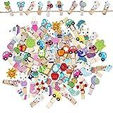 EQLEF - Mini pinzas para ropa de madera, portafotos con diseño de dibujos animados para niños, pinzas pequeñas con cordón de yute para visualización de fotos DIY (100 unidades)