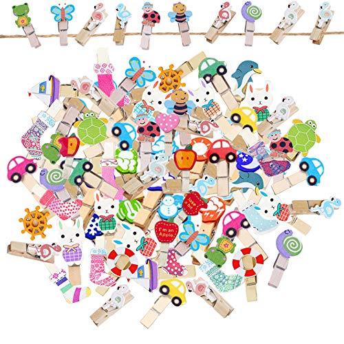 EQLEF - Mini mollette per bucato in legno, portafoto, con motivo di fumetti per bambini, piccola pinza con spago in iuta, per esporre foto fai da te (100 pezzi)